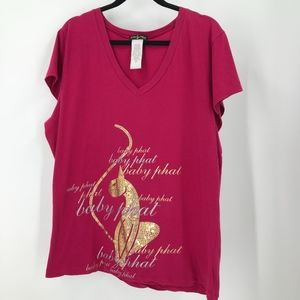 Baby Phat Pink V-neck Gold Sparkly Cat Size 2X